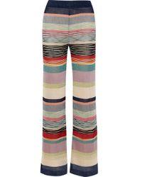 Missoni Striped Metallic Crochet-knit Wide-leg Trousers - Blue