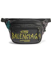 Balenciaga Explorer Graffiti Printed Textured-leather Belt Bag - Black
