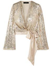 Jenny Packham Satin-trimmed Sequined Silk-chiffon Wrap Top - Metallic
