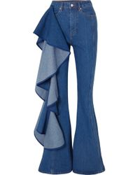 Solace London - Trumpet Ruffled High-rise Wide-leg Jeans - Lyst