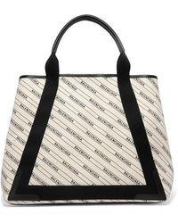 Balenciaga Cabas Medium Leather-trimmed Printed Canvas Tote - Multicolor