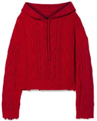 RTA - Marvin Hooded Cable-knit Cotton Sweater - Lyst