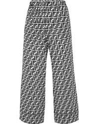 Fendi - Cropped Printed Silk Crepe De Chine Wide-leg Pants - Lyst