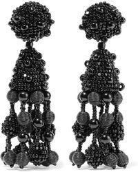 Oscar de la Renta - Falling Tassel Beaded Silk Clip Earrings - Lyst