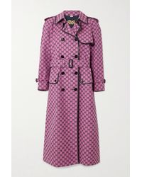 Gucci Gg Multicolour Belted Leather-trimmed Cotton-blend Jacquard Trench Coat - Pink