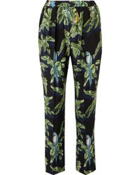 Stella McCartney - Printed Silk Crepe De Chine Tapered Trousers - Lyst
