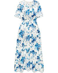 Adam Lippes - Floral-print Hammered-silk Maxi Dress - Lyst