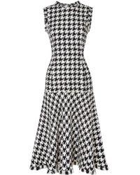 Oscar de la Renta - Fringed Houndstooth Wool-blend Tweed Dress - Lyst