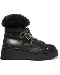 Miu Miu - Shearling-trimmed Leather Ankle Boots - Lyst