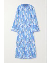 Dodo Bar Or Robe Midi Dos Ouvert En Mailles Intarsia Ally - Bleu