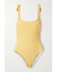 lemlem + Net Sustain Zala Nageur Tie-detailed Stretch-jacquard Swimsuit - Yellow