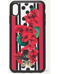 Dolce & Gabbana Bedruckte Iphone Xs Max-hülle Aus Strukturiertem Leder - Rot