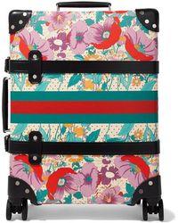 Gucci + Globe-trotter Koffer Aus Vulkanfiber Mit Lederbesatz Und Blumenprint - Pink