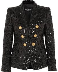 Balmain - Double-breasted Sequinned Chiffon Blazer - Lyst
