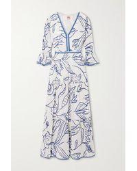 Le Sirenuse Bella Tiered Printed Cotton-voile Maxi Dress - Blue