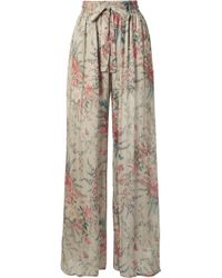 Zimmermann - Bayou Shirred Floral-print Silk-crepon Trousers - Lyst