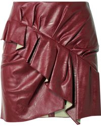 Étoile Isabel Marant - Zeist Ruffled Faux Textured-leather Mini Skirt Red Fr38 - Lyst