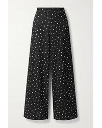 Alice + Olivia Athena Polka-dot Crepe Wide-leg Pants - Black