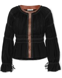 Altuzarra - Goncourt Leather-trimmed Ruched Linen And Cotton-blend Canvas And Silk-gauze Blouse - Lyst
