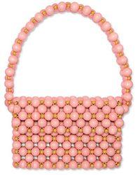 Vanina Bolero Beaded Wooden Shoulder Bag - Pink