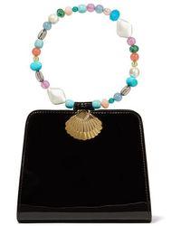RIXO London Amelie Bead-embellished Patent-leather Tote - Black