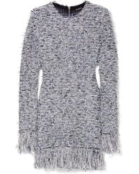 Balmain - Frayed Stretch-tweed Mini Dress - Lyst