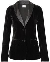 Cami NYC The Emmie Stretch-silk Charmeuse-trimmed Velvet Blazer - Black