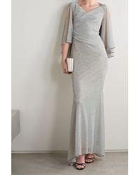 Talbot Runhof Doris Cape-effect Metallic Voile Gown