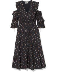 Cold-shoulder Floral-print Cotton-dobby Dress - Black Sea New York Popular Sale Online ey3Lvp