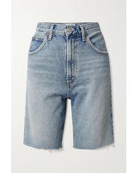 Agolde + Net Sustain Pinch Shorts Aus Biobaumwoll-denim In Distressed-optik - Blau
