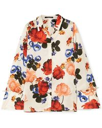 Mother Of Pearl - Vera Faux Pearl-embellished Floral-print Silk-satin Shirt - Lyst