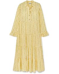 Ganni Floral-print Crepe Maxi Dress - Yellow