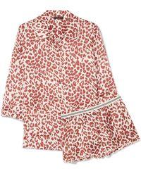 Love Stories - Joe And Edie S Leopard-print Satin Pajama Set - Lyst