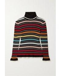 Mary Katrantzou Bow Striped Metallic Ribbed-knit Turtleneck Jumper - Black