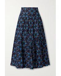 Cefinn Sylvia Gathered Printed Satin-twill Midi Skirt - Blue