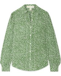 MICHAEL Michael Kors - Printed Washed-silk Blouse - Lyst