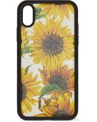 Dolce & Gabbana Iphone Xr-hülle Aus Strukturiertem Leder Mit Blumenprint - Gelb