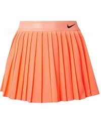 Nike Court Victory Pleated Neon Dri-fit Stretch Skirt - Orange