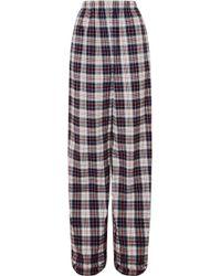 Balenciaga - Tartan Cotton-flannel Wide-leg Pants - Lyst