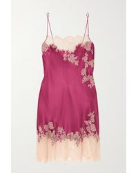 Carine Gilson Chantilly Lace-trimmed Silk-satin Chemise - Purple