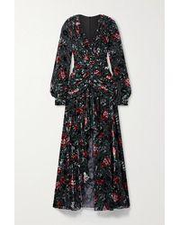 PATBO Ruched Ruffled Floral-print Devoré-velvet Gown - Black
