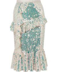 Needle & Thread - Scarlett Ruffled Sequined Tulle Midi Skirt - Lyst