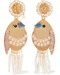 Mercedes Salazar - Bird Gold-tone, Faux Pearl And Crystal Clip Earrings - Lyst
