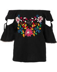 Sensi Studio - Off-the-shoulder Cutout Embroidered Crinkled-cotton Top - Lyst