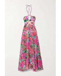 PATBO Gabi Cutout Floral-print Crepon And Stretch-jersey Halterneck Maxi Dress - Multicolour