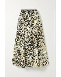 La Ligne Verushka Leopard-print Silk Crepe De Chine Midi Skirt - Multicolor
