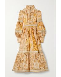 Zimmermann Tempo Embellished Floral-print Linen And Silk-blend Gown - Metallic