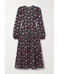 Anna Mason Christy Tiered Floral-print Cotton-poplin Midi Dress - Purple