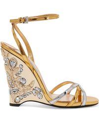 Prada - Embellished Metallic Leather Wedge Sandals - Lyst