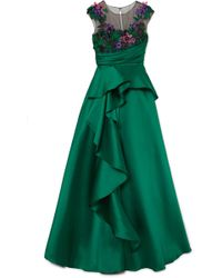 Marchesa notte - Ruffled Mikado And Appliquéd Tulle Gown - Lyst
